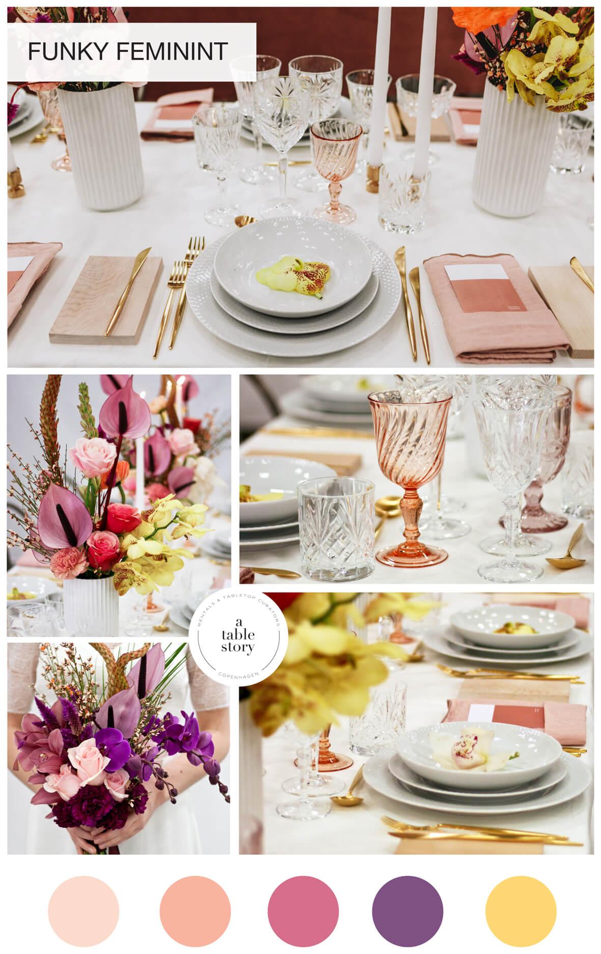 Funky feminint_A table story_serviceudlejning København_blomster bryllup